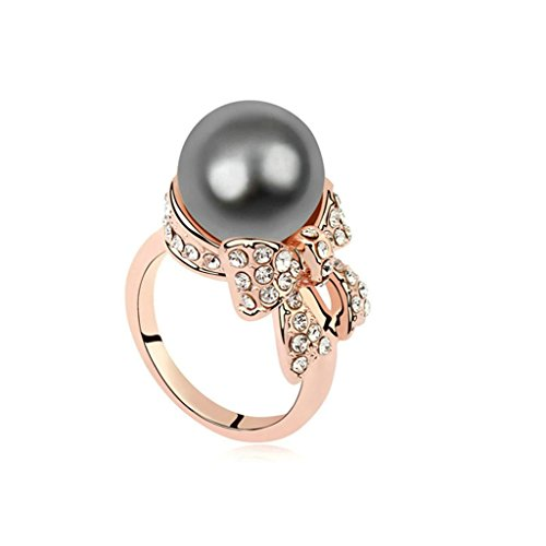 Single Pendant Mounting - AMDXD Jewelry Gold Plated Eagagement Rings for Women Bowknot Single Freshwater Pearl Grey Size 6.5