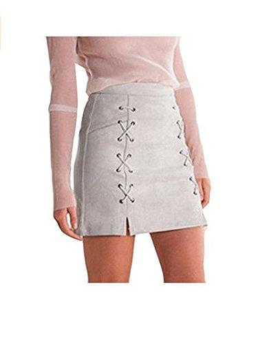 Danapp lgant et lgant Bracelet Design Fin Package Hip Wild Demi Cuir Matire Jupe Une Jupe Word, Cuir, Pink M, 1 Gray L