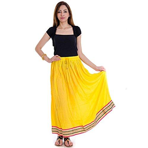 Yellow Base Rayon Cloth Lehanga Skirt