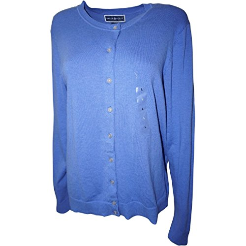 (Karen Scott Regatta Blue Long-Sleeve Crew-Neck Cardigan L)