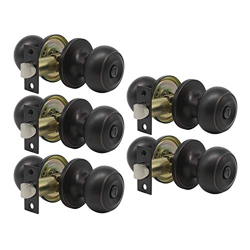 5 Pack Round Shape Door Knob Privacy Bed and Bath Lockset, Oil-Rubbed Bronze Finish, Interior Door Use