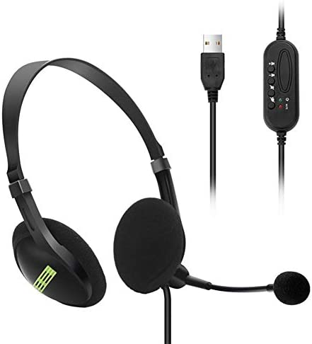 Politice USB HeadsetFlexible Microphone Lightweight Comfortable Headphone Universal for Computers Laptops PCs Video Conference Live Broadcast Game