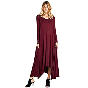 58b4067e77b 12 Ami Solid Long Sleeve Pocket Loose Maxi Dress (S-XXXL) – Made ...