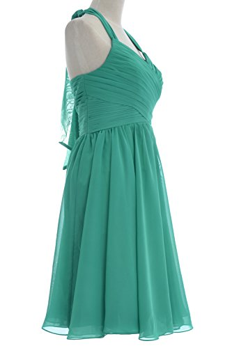 Dunkelgrun Chiffon Short Bridesmaid Dress Cocktail Wedding Women Halter Party MACloth Gown qwPtnxOvE