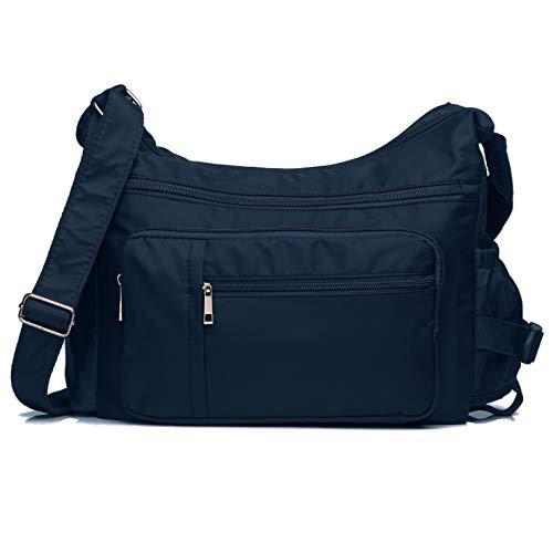 Pocketbooks for Women Lightweight Shoulder Bags Multi Pockets Volcanic Rock Nylon Waterproof Crossbody Handbag (Dark Blue-14