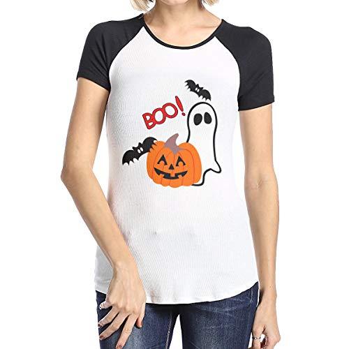 Women's Boo Halloween Baseball T Shirts Casual Raglan 3/4 Sleeves Tee]()