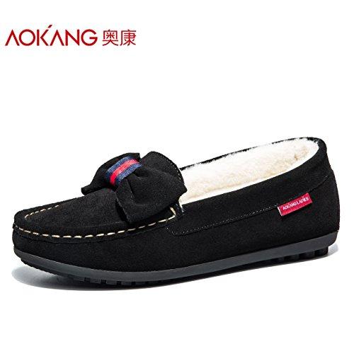 invierno otoño calzado calzado negro una femenino de plana Zapatos 38 e Zapatos casual Mujer base solo Soja zapatos algodón Aemember de con WY18Iq