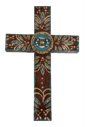 Brown Concho Handmade Cross - cross shaped wall art decor