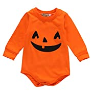 Infant Baby Boys Girls Long Sleeve Pumpkin Bodysuit Romper Halloween Outfits (0-3 Months, Orange)
