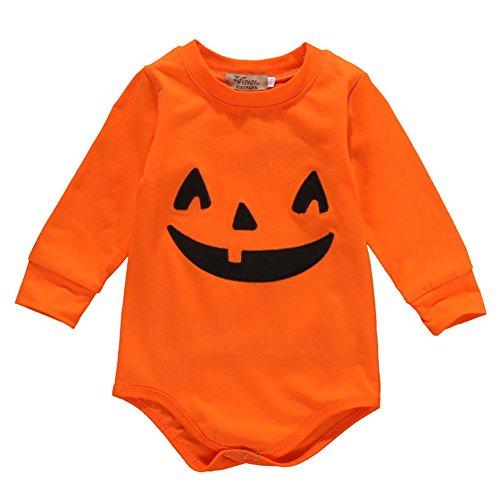 Infant Baby Boys Girls Long Sleeve Pumpkin Bodysuit Romper Halloween Outfits (0-3 Months, Orange)