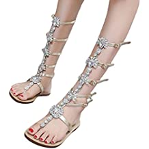 Women Chain Shining Rhinestones Sandal Girl Womens Summer Bohemia Flat Sandals Boots T-strap Shoes