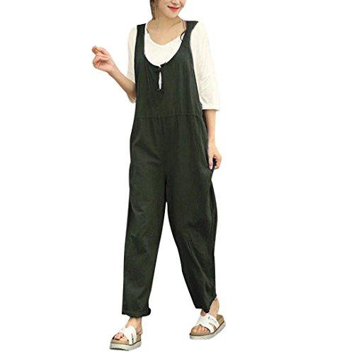 - Women Cargo Sleeveless Dungarees Loose Cotton Long Playsuit Jumpsuit Bib Pants Green