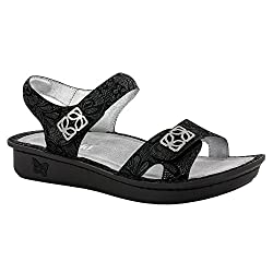 Alegria Womens Vienna Sandal Black Leaf Size 35 EU (5-5.5 M US Women)