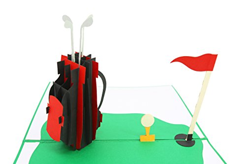 PopLife Golf Club and Hole-In-One Pop Up Card for All Occasions - Happy Birthday, Congratulations, Retirement, Fathers Day - Over The Hill, Golfing Gift for Dad - Folds Flat for Mailing