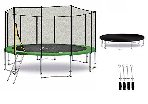 LS-T400-PA13 (GD) DELUXE LifeStyle ProAktiv Garten- Trampolin 400 cm - 13ft - Extra Starkes Sicherheitsnetz - 180kg Traglast - TÜV/GS/CE