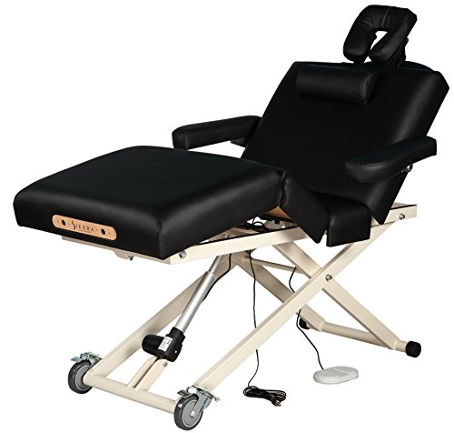 SierraComfort Adjustable 4-Section Electric Lift Massage Table, Black