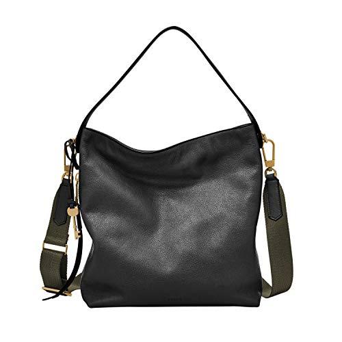 Fossil Women's Maya Leather Small Hobo Handbag, Black