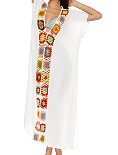 Coolred-femmes Épissure Du Cou V Profond Solide Lâche Taille Plus Longue Robe Maxi Blanc