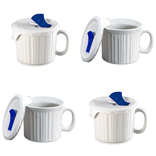 CorningWare French White Pop-Ins 20-ounce Mug with Blue Vented PlasticCover, White