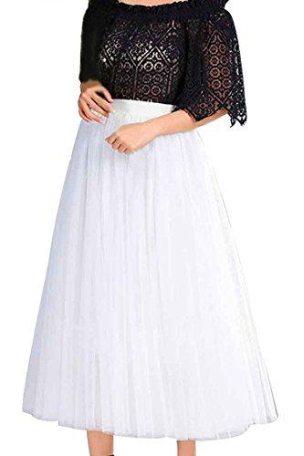 FACE N FACE Women's Elastic Waist Mesh Long A Line Tutu Tulle Layer Skirt Medium White