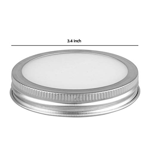 CHICTRY Stainless Steel Mason Jar Lids Rust Resistant Polished Storage Solid Caps with Silicone Sealing Lid Inserts Suitable for Mason Ball Canning Jar Silver 86mm by CHICTRY (Image #7)