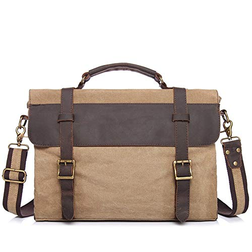 (XJ05 Men's Briefcase, Canvas Bag with Top Layer Crazy Horse Leather Shoulder Tote Men's)