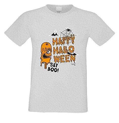 T-Shirt - Happy Halloween - Say Boo Shirt grau - gruseliges Motiv Shirt für Leute mit Humor