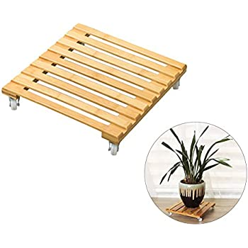 Amazon Com Ibnotuiy Bamboo Square Movable Rolling Plant