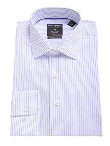(Mens Slim Fit Blue Striped Spread Collar 100 2 Ply Cotton Dress Shirt)