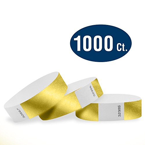 WristCo Deep Metallic Gold 3/4 Tyvek Wristbands - 1000 Pack Paper Wristbands For Events