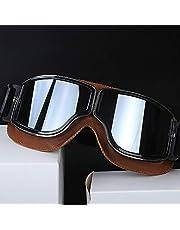 Retro uniwersalne składane skórzane brązowe oprawki gogle vintage gogle motocyklowe do sportów skórzane okulary Har ley (srebrne soczewki)