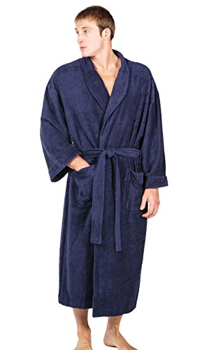 Men's Luxury Bathrobe - Plush Terry Cloth Robe for Men - Soft Spa Luxury Robe (Medieval Blue, Large/X-Large)