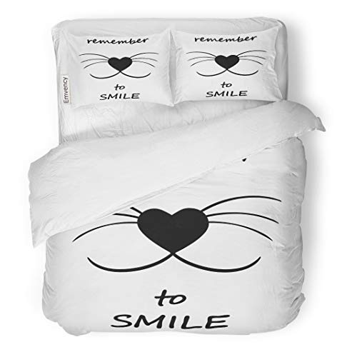 Semtomn Decor Duvet Cover Set Twin Size Smiling Cat Face W Whiskers and Heart Shaped Nose 3 Piece Brushed Microfiber Fabric Print Bedding Set Cover