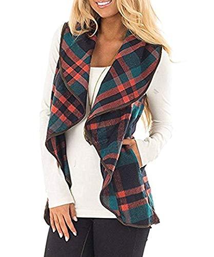 Rvshilfy Women's Color Block Lapel Open Front Sleeveless Plaid Vest Cardigan with Pockets (Medium, Green)