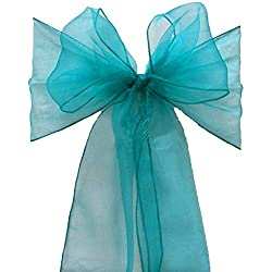 mds Pack of 100 Organza Chair Sashes Bow Sash for Wedding and Events Supplies Party Decoration Chair Cover sash -Light Teal