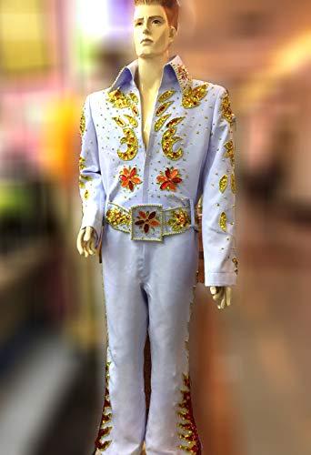(Da NeeNa Elvis Presley Inspired Singer The King Eagle Belt Jumpsuit CostumeXS-XL)