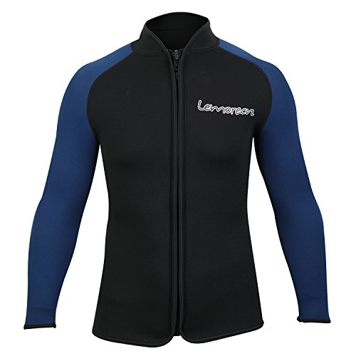 Lemorecn Adult's 3mm Wetsuits Jacket Long Sleeve Neoprene Wetsuits Top - Top Neoprene Mens Wetsuit