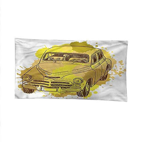 Flap Flag Mud American (Grungewall Tapestry for bedroombeach tapestryRetro Car Splash Artsy 80W x 60L Inch)