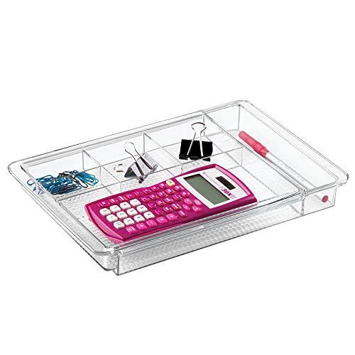 mDesign Organizador de escritorio extensible – Útil bandeja de oficina para mesa de despacho o cajon – Con divisiones para marcadores, notas adhesivas, clips, etc. – Ampliable hasta 47 cm de ancho