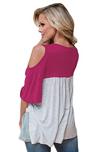 New rosy color block Crisscross scollo a V Cold Shoulder camicetta estate camicia top casual Wear taglia UK 8EU 36