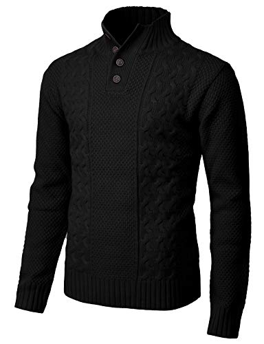 - H2H Mens Fashion Mock Henley Neck Long Sleeve Pullover with Diamond Knitted Black US M/Asia L (CMOSWL028)