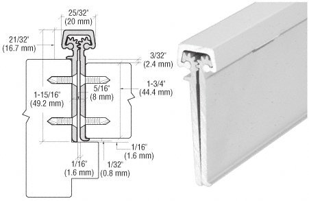 CRL Satin Anodized Aluminum Roton Concealed Leaf 83'' Hinge With Lip For 1-3/4'' Entry Door by C.R. Laurence (Image #1)