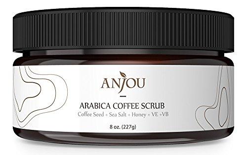 Anjou Arabica Coffee Scrub 8 oz with Honey, Sea Salt, Jojoba...