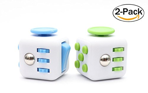 PREMIUM Fidget Cube SET of 2 Helps Focus EDC Desk Toy for Ki