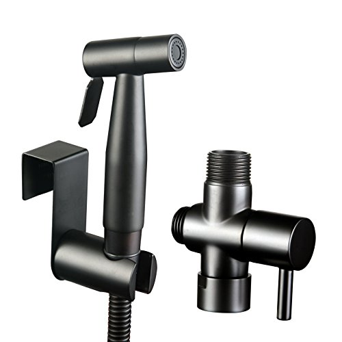 Shile Black Color Stainless Steel Handheld Bidet Sprayer Diaper Shattaf Douche Complete Bidet Set for Toilet Bathroom