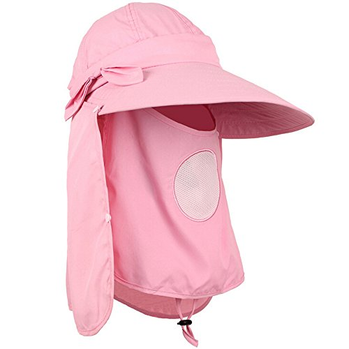 Ezyoutdoor Quick-drying Fishing Hat Breathable Outdoor Jungle Fishing 360 Degree UV Protection Sun Block Hat with Removable Sun Shield & Mask,One Size Fit Most (Pink) (Strike King Lure Company Hat compare prices)