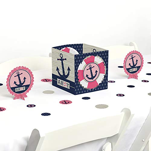 Big Dot of Happiness Ahoy - Nautical Girl - Baby Shower or Birthday Party Centerpiece & Table Decoration Kit