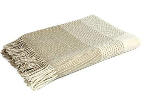 Lambswool White - FOXFORD Woollen Mills Sand Beige/White Check Cashmere Lambswool Throw Blanket