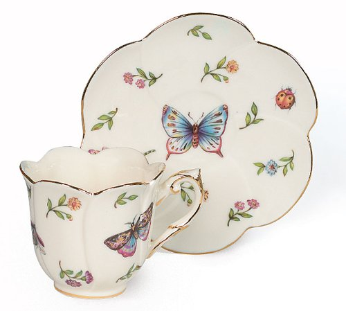 Porcelain Butterfly Teacup And Saucer With Gold Trim by Morning Meadow Collection