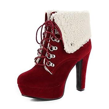 Zapatos de Mujer de cuero de nubuck moda otoño invierno botas botas Ronda Toe botines/